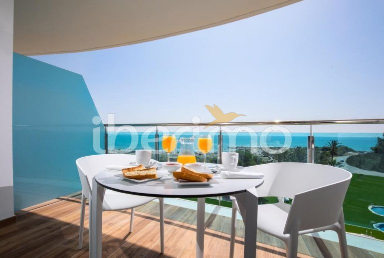 Family apartment  in Alcossebre  for 5 people in a hotel complex with communal pool and direct sea view  p0